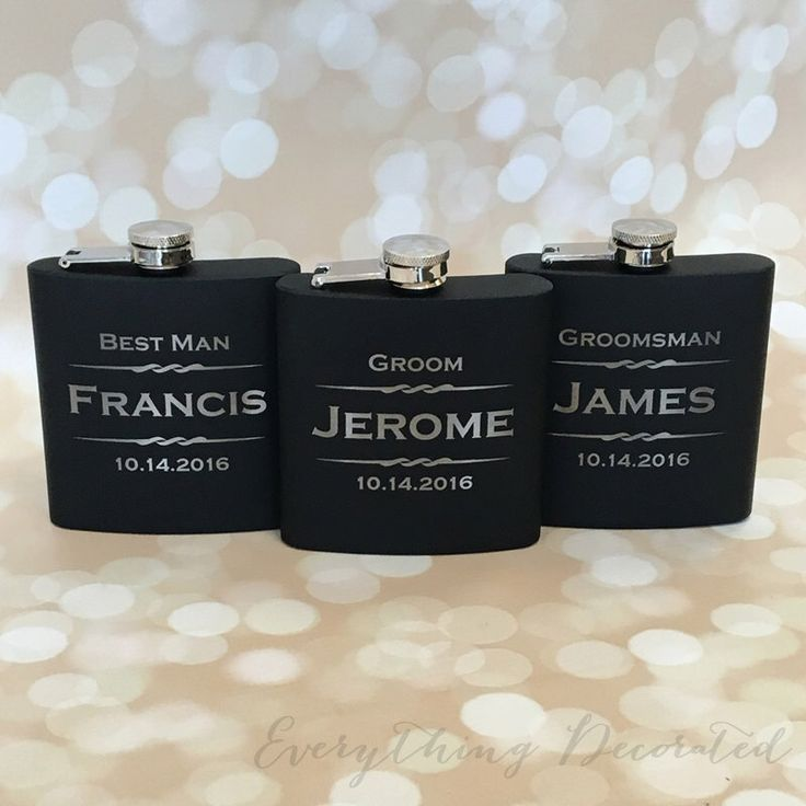 Engraved Flask- 7 Personalized Engraved Flasks, Groomsmen Gift, Flask Gift Set, Gifts for Groomsmen, Asking Groomsmen, Groomsman Gift, Flask by EverythingDecorated on Etsy https://www.etsy.com/listing/165486865/engraved-flask-7-personalized-engraved