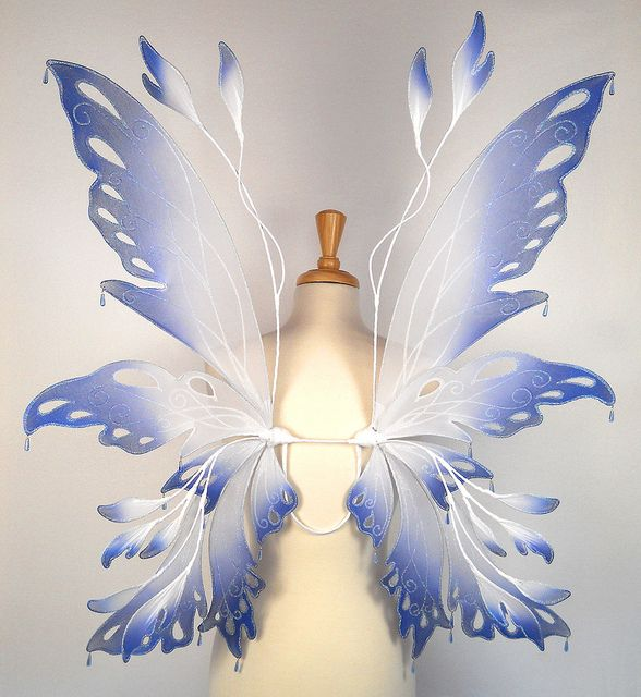 Posie Fairy Wings in Blue and White by On Gossamer Wings, via Flickr