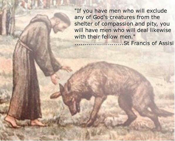 These are wise words from St. Francis. You can tell a lot about a person's character by how they treat animals.
