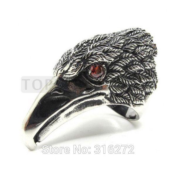 Topearl ювелирные изделия 3 шт. мужские большой тяжелый красные глаза орел ястреб кольцо из нержавеющей стали MER893
