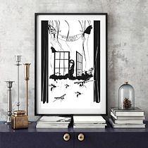 "Ilustracja pt.: ""Wonderful World"". Rysunek piórkiem i atramentem."