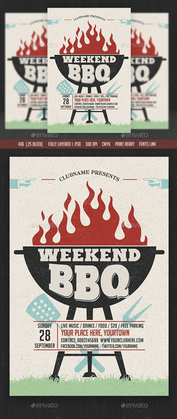 Weekend/Sunday BBQ Flyer Template PSD. Download here: http://graphicriver.net/item/weekendsunday-bbq-flyer/15639850?ref=ksioks