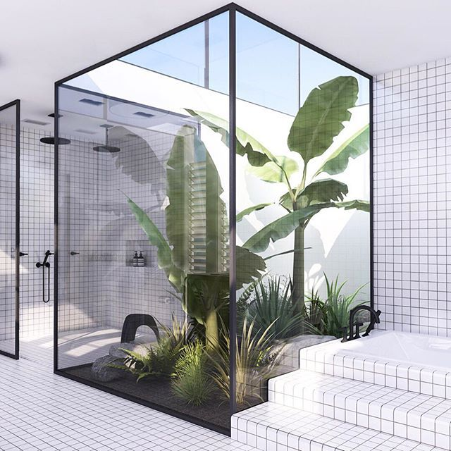 We love a bit of greenery in the bathroom and this takes it to a whole new level!  Photo courtesy of @myparadissi    #Regram via @reallivingmag