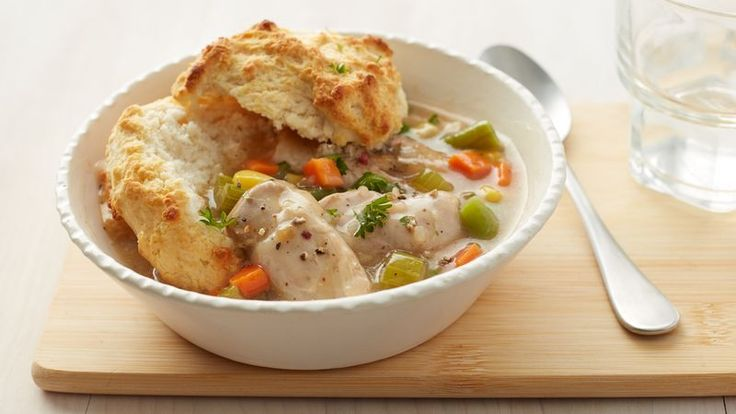 No, you don't have to turn your slow cooker upside down to enjoy this savory pot pie.  Pop biscuits in the oven about 30 minutes before it's done, then serve the chicken mixture over the biscuits.  Bottoms up!