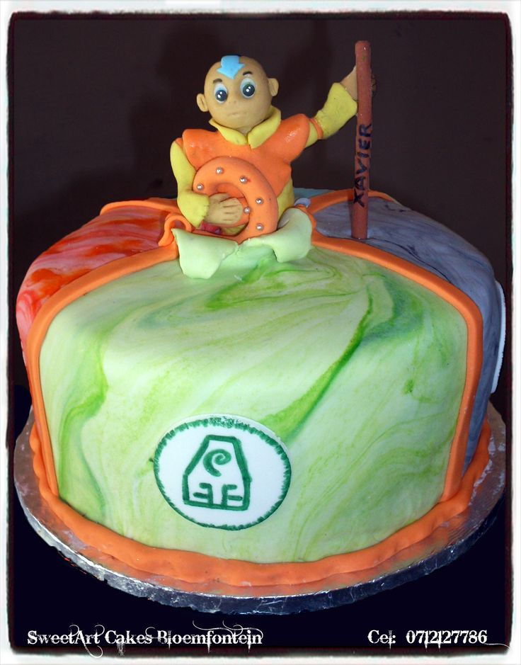 Avatar:  The Last Airbender (Aang) Cake. For more info & orders, email SweetArtBfn@gmail.com or call 0712127786.  Connect with me on Facebook at www.facebook.com/SweetArtCakesBfn