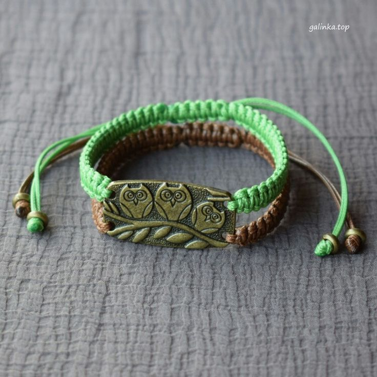 handmade_bracelet, #braided_bracelet, bracelet_shamballa, #owl, #triple_owls, #bird, brown, green, #cord, jewellery, gift