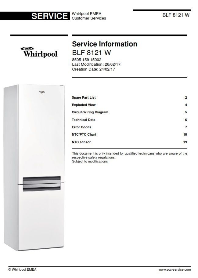 whirlpool blf 8121 w refrigerator service information manualwhirlpool blf 8121 w original service manual as used by all certified technicians and repair shops