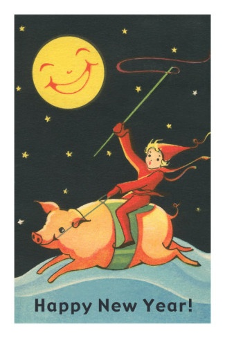 Child Riding Pig by Smiling Moon !