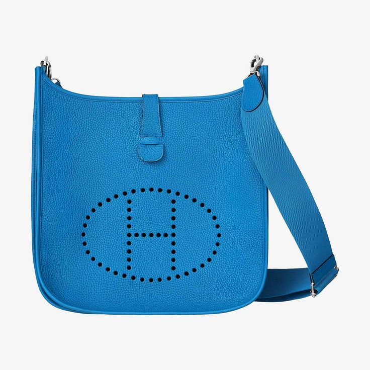 """Hermes shoulder bag in taurillon Clemence leather Adjustable strap from 36"""" to 52"""", outside pocket, leather tabclosure, perforated leather plaque Palladium plated hardware Blue Zanzibar"""