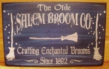 Primitive Witch sign Olde Salem Broom Company Co Primitives Witches Signs Plaques halloween props Painting Witchcraft Magic Pagan Wicca by SleepyHollowPrims, $22.50 USD