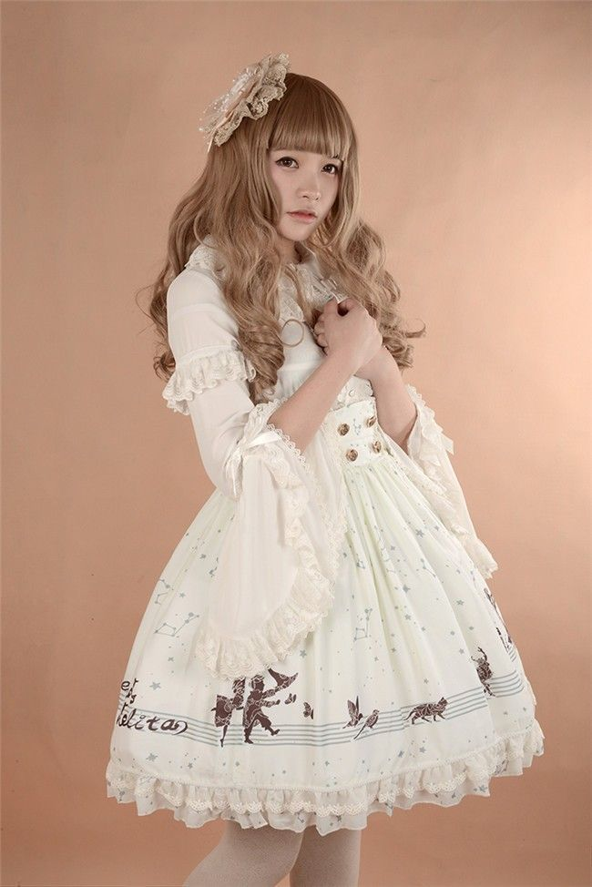 Neverland Lolita -The Piper at Starry Night- Sailor Style Lolita High waist Skirt