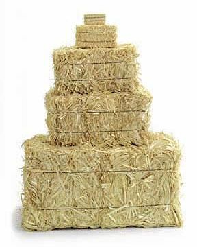 Barnyard Birthday Party Ideas - Inexpensive mini straw bales to layer food and drinks on the serving table.