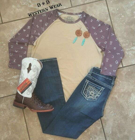 Ranch Round Up Baseball Tee  Cowgirl Up Jeans  Hornback Caiman Boots   Ruidoso Rose Earrings