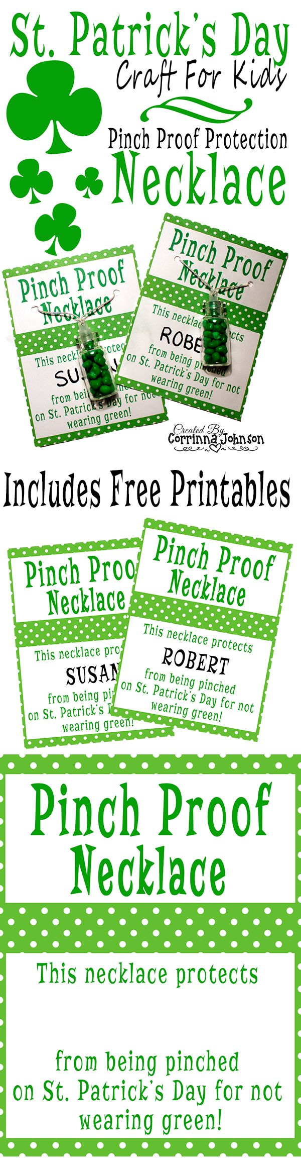 St. Patrick's Day Craft - Pinch Proof Protection Candy Necklaces | Includes Free St. Patrick's Day Printables