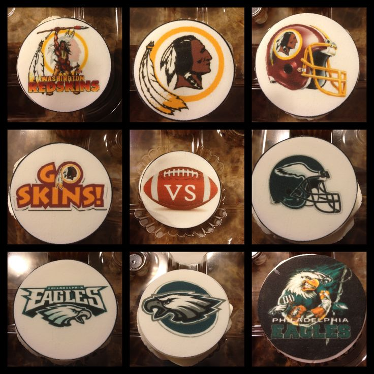 Monday Night Football Cupcake! Eagles vs. Redskins cupcake toppers.