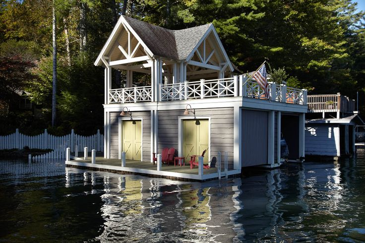 room for 2 boats, and a cottage on top; #boat houses