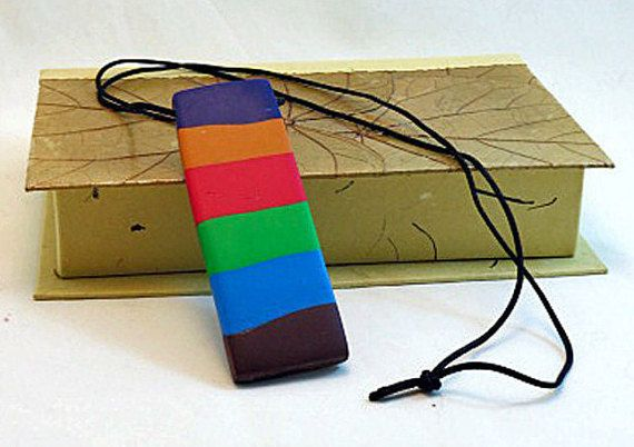 Necklace Colour Blocks Rectangular Pendant by QuerkyBitsbyKerry