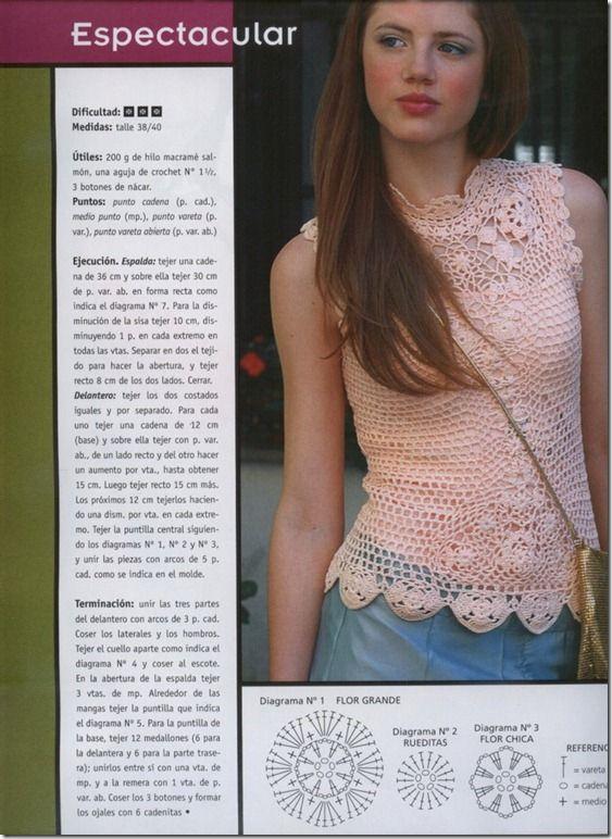 blusa rosa de croche: Hook, Looper, Crochet, Top De Ganchillo Crochet, Crochet Tops, Caramel