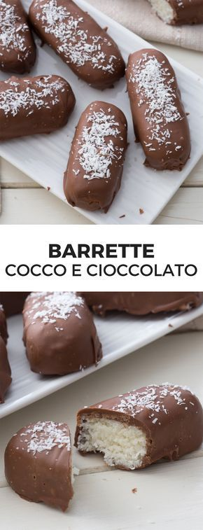 Barrette cocco e cioccolato: una merenda super golosa; uno sfizio da concedersi di tanto in tanto per un pieno di energie! [Chocolate and coconut bars snack]