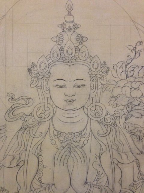 Drawing has begun on the giant thangka.  Learn more at PreserveTibetanArt.org #thangka  #Tibetan art #Tashi Dhargyal