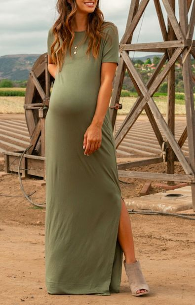 11db573190905 I love wearing maternity maxi dresses during pregnancy and this Olive Basic  Side Slit Maternity Maxi Dress is so cute! Maternity fashion, pregnancy  clothes, ...