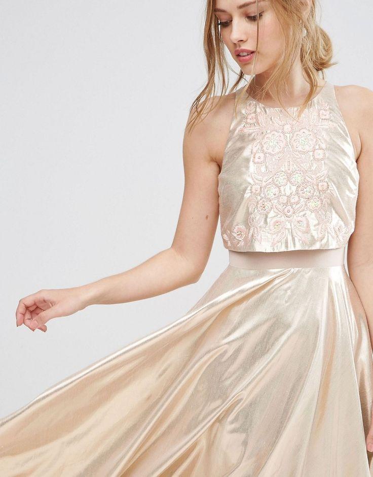 Image 3 ofASOS Metallic Crop Top Embellished Midi Dress