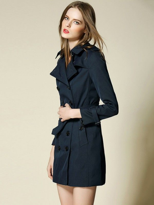 Navy Blue Tie Waist Double Breasted Placket Trench Coat
