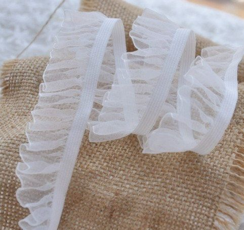 White Tulle Elastic Stretch Lace Trims for Lingerie Supplies 0.98 Inches Wide 2 Yards