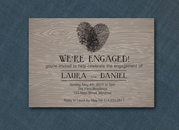 DIY Printable Invitation  Woodgrain Thumbprint by PaperCandyCa, $18.00