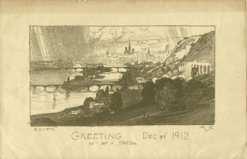 ARTHUR STREETON ORIGINAL 1912 LITHOGRAPH CHRISTMAS CARD  Artist: Streeton, Arthur Ernest  Artwork title: Greeting - DEC 25th 1912