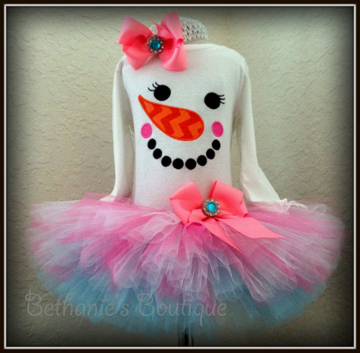 Snowman Face Holiday Tutu Set Holiday outfit by TooTuTuCute, $48.00