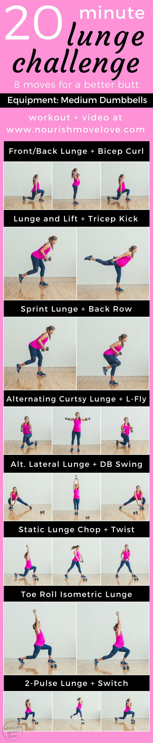 8 lunge variations, all wrapped up in to a 20 minute total body workout! Challenge those legs and that butt and work that booty with these lunges. Use a medium set of dumbbells for a total body burn. Perfect workout for building that booty. | www.nourishmovelove.com | 8 Lunge Variations for a Better Butt | 20 Minute Lunge Challenge