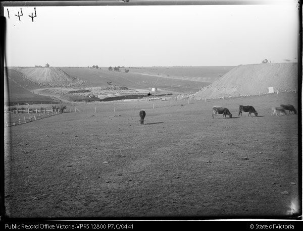 Foundations of viaduct, Maribyrnong River.  Construction of Albion Broadmeadows Goods Line