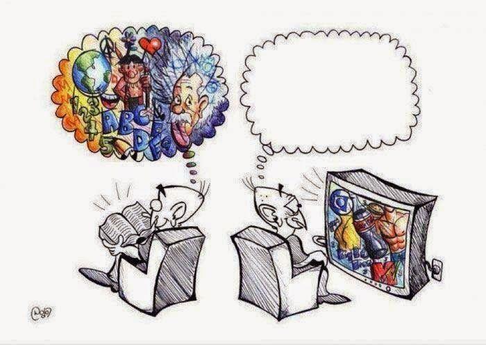 Questa vignetta illustra bene l'effetto inibitorio che la maggior parte dei programmi televisivi hanno sull'intelligenza umana rispetto a quello stimolante di una buona lettura.  La prossima volta che ti ritroverai con il telecomando in mano pensaci :-)