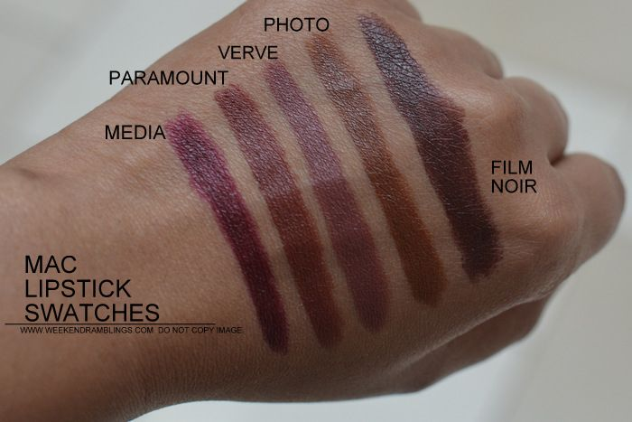 MAC Lipsticks swatches - Indian Darker Skin NC45 - Media Paramount Verve Photo Film Noir