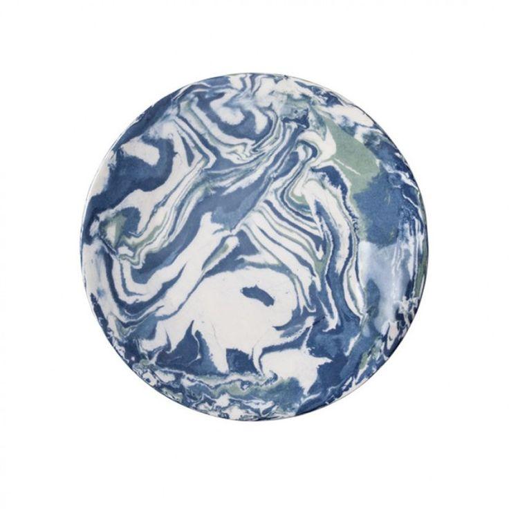 Blue Ebru Marble Ceramic Dinner Plate Tableware