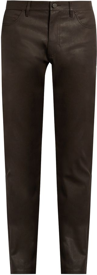 CALVIN KLEIN COLLECTION Gypsum resin-coated slim-fit jeans