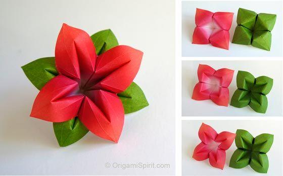 How to Make an Origami Flower and Leaves, great for a bouquet! Easy-to-follow video tutorial. http://www.origamispirit.com/2014/07/flower/ ……… Haz una flor y sus hojas, perfecta para hacer un ramo. Video paso a paso, fáciles de seguir con subtítulos en español http://www.origamispirit.com/es/2014/07/flor/