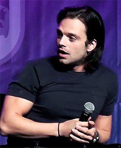 """sebastiansource: """"Sebastian reacting to a fan speaking Romanian """""""