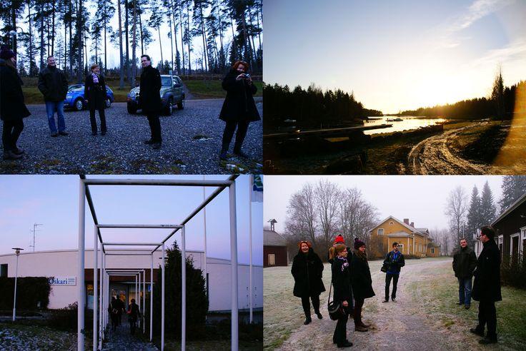 Muutosmuotoilijat Etelä-Savossa, vierailut (yläoikealta alavasmmalle) Sulkavalla, Rantasalmella ja Juvalla.