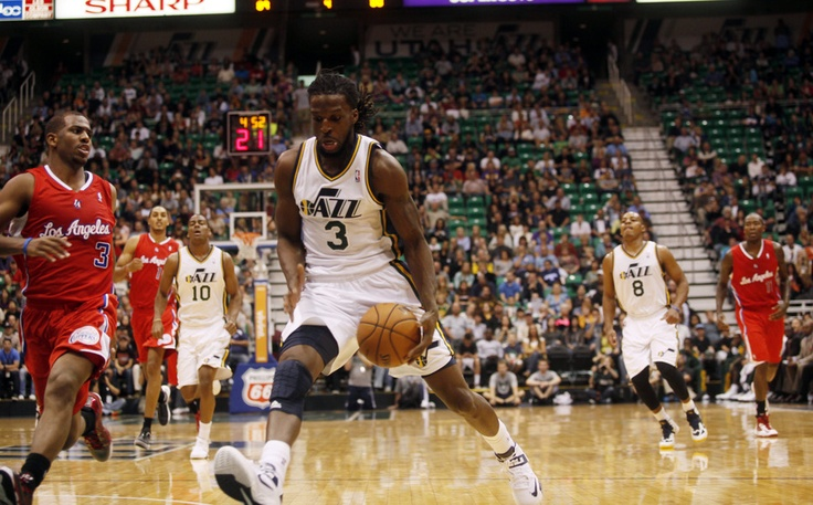 DeMarre Carroll drives the ball down court in the second half of the game against the Clippers on Saturday, Oct. 20, 2012 at Energy Solutions in Salt Lake City. The Jazz beat the Clippers, 99-91. (Ashley Detrick  |  The Salt Lake Tribune)