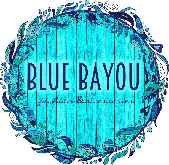 Blue Bayou, gitana Boho Logo - preconfeccionado Logo, diseño, dibujado, joyería, boutique de moda, Bohemia, boho chic, flores, ramo, corona, madera