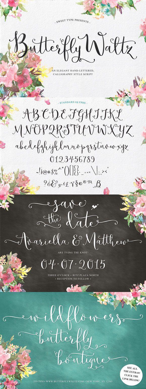 Butterfly Waltz Calligraphy Hand lettered Russian Cryllic Script Cursive Font Decorative Typeface #font #script