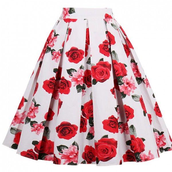 Falda negra con estampado de rosas