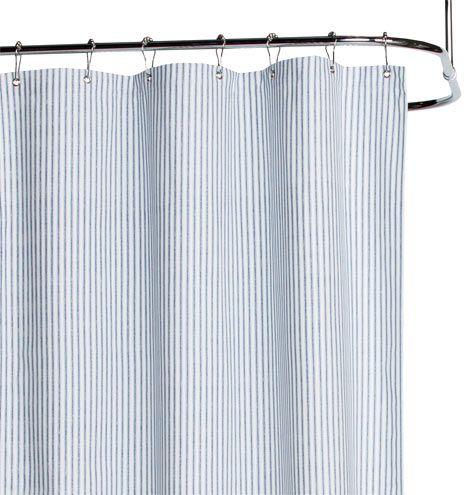 Blue Ticking Cotton Duck Cloth Shower Curtain Bath Kid Bathrooms And Guest Bath