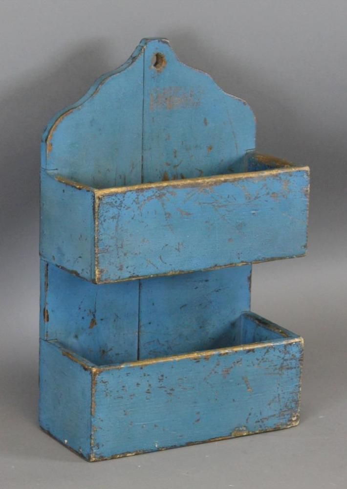 RARE 19TH C PA HANGING 2 TIER CANDLE WALL BOX SHAPED CREST BEST OLD BLUE PAINT #Americana