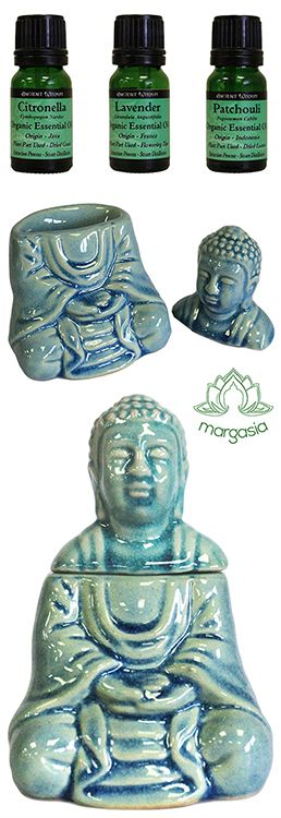Buddha essential oil burners and organic essential oils to burn in them! :)
