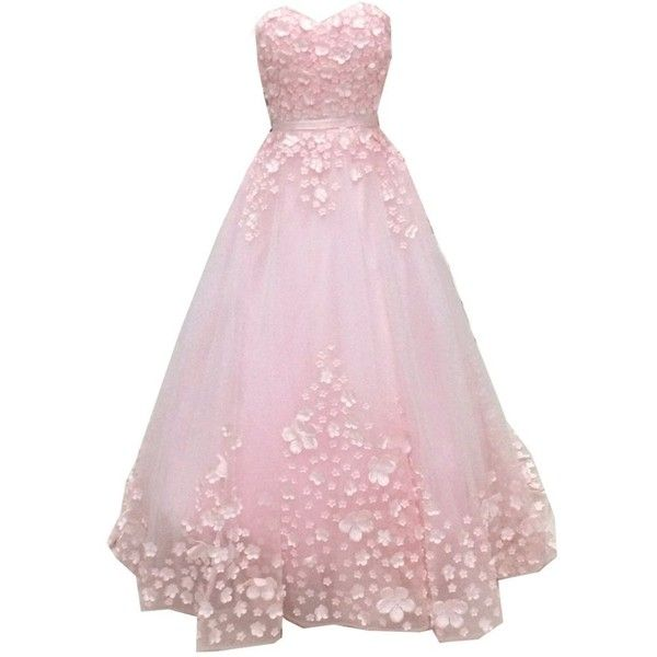 SuperKimJo Floral Prom Dresses Long Puffy Tulle Evening Dresses for... ($148) ❤ liked on Polyvore featuring dresses, tulle cocktail dress, pink dress, long pink dress, floral dresses and tulle dress