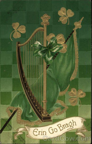 """Erin Go Bragh""- Harp with Green and Gold Clovers, Flag ""Ireland Forever"""