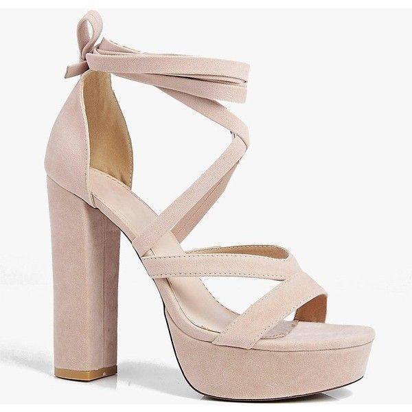 Boohoo Betsy Platform Wrap Strap ($52) ❤ liked on Polyvore featuring shoes, sandals, nude, strappy heeled sandals, gladiator heel sandals, nude wedge sandals, strappy wedge sandals and gladiator sandal